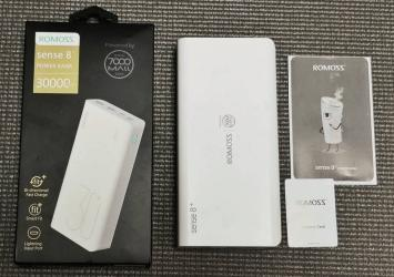 ROMOSS 30000mAh Type-C PD Portable Charger Sense 8+, 3 Outputs and 3 Inputs Power Bank, 18W Fast Charge Extenal Battery Packs Compatible with iPhone Xs Max, MacBook, iPad Pro, Samsung S8 37