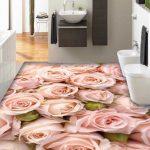 3d Sweet Pink Rose Buque Epoxy Flooring 3
