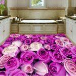 3d Purple Rose Buque Epoxy Flooring 3